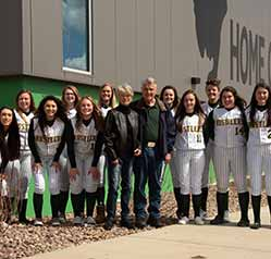 Softball Team with Donor. Batting Cages, Loucks Family Donation